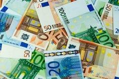 De euro Achtergrond van Geldbankbiljetten Stock Afbeeldingen