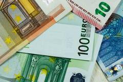De euro Achtergrond van Geldbankbiljetten - close-up Stock Afbeelding
