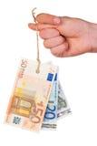 De euro bankbiljetten etiketteren op duim Royalty-vrije Stock Afbeelding