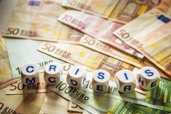 Bankbiljetten met woordcrisis Royalty-vrije Stock Foto