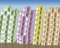 De euro bankbiljetten van duizenden. Stock Foto's