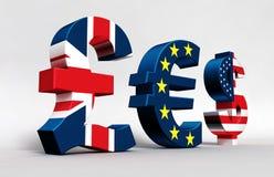 De Euro Dollar van het pond Stock Afbeeldingen