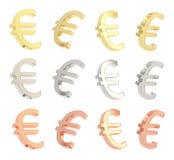 De euro geïsoleerde reeks van het muntteken Stock Afbeeldingen