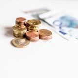 De euro geldmuntstukken sluiten omhoog Stock Foto