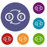 De euro geplaatste pictogrammen van de dollar euro uitwisseling Stock Foto's
