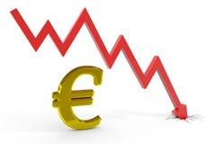 De euro grafiek van de daling. Stock Afbeeldingen