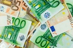 De euro horizontale Achtergrond van Geldbankbiljetten - Stock Foto's