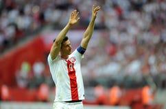 De EURO 2016 kwalificeert Polen versus Georgië Stock Afbeeldingen