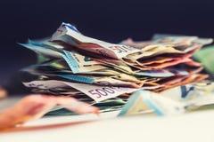 De euro euro munt van geld euro bankbiljetten Het liggen losse euro bankno Stock Afbeeldingen