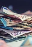 De euro euro munt van geld euro bankbiljetten Het liggen losse euro bankno Stock Foto's