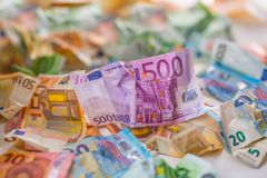 De euro euro munt van geld euro bankbiljetten Het liggen losse euro bankno Royalty-vrije Stock Afbeeldingen