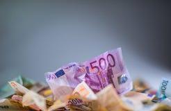 De euro euro munt van geld euro bankbiljetten Het liggen losse euro bankno Royalty-vrije Stock Foto's