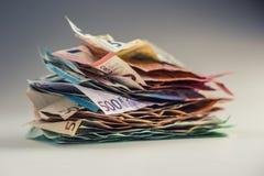 De euro euro munt van geld euro bankbiljetten Het liggen losse euro bankno Stock Afbeelding
