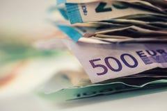 De euro euro munt van geld euro bankbiljetten Het liggen losse euro bankno Stock Foto