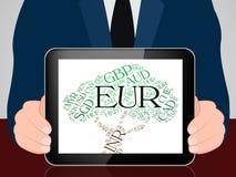 De euro Munt vertegenwoordigt Uitwisseling Rate And Coin royalty-vrije illustratie