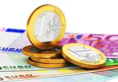 De euro muntstukken van het muntgeld en document bankbiljetten Stock Illustratie