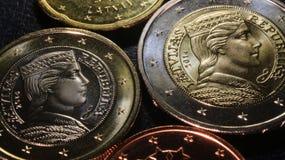 De euro muntstukken 2014 van Letland Stock Afbeelding