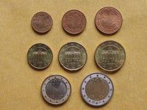 De euro muntstukkenvlakte lag Stock Afbeeldingen