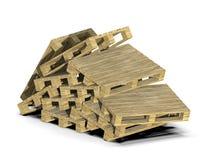 De euro pallets zijn verspreid in een hoop Verwerking van hout Stortplaats van pallets op een witte achtergrond 3D Illustratie stock illustratie