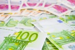 De euro rekeningen sluiten omhoog stock fotografie