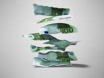 De euro rekeningenvlieg onderaan de 3d stapel geeft op grijze achtergrond met schaduw terug vector illustratie