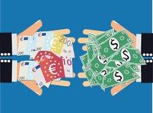 De euro Uitwisseling van de Dollarmunt Stock Foto's