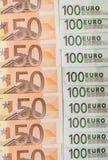 De euro van bankbiljetten 50 en 100 Stock Foto's