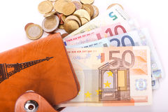 De Euro van de reisportefeuille - Frankrijk Stock Afbeeldingen