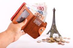 De Euro van de reisportefeuille - Frankrijk Stock Foto's