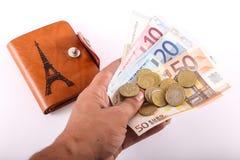 De Euro van de reisportefeuille - Frankrijk Stock Afbeelding