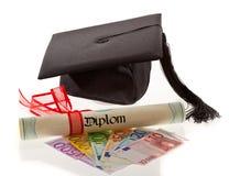 De euro van Doctorates. De kosten van het onderwijs Stock Fotografie