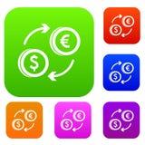 De euro vastgestelde inzameling van de dollar euro uitwisseling Stock Afbeelding