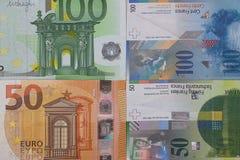 100 de euro 50 Zwitserse achtergrond van het frankgeld Stock Afbeeldingen