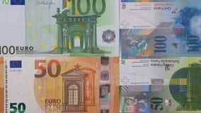 100 de euro 50 Zwitserse achtergrond van het frankgeld Stock Foto