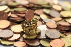 De eurocent van het spaarvarken Stock Fotografie