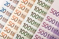 De Europese achtergrond van muntbankbiljetten Stock Afbeelding