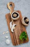 De Europese champignonsoep van het voedselconcept met de reeks van de champignonpaddestoel Stock Afbeeldingen