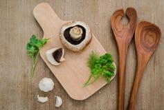 De Europese champignonsoep van het voedselconcept met de reeks van de champignonpaddestoel Royalty-vrije Stock Afbeelding