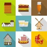 De Europese geplaatste pictogrammen van het achterland, vlakke stijl Royalty-vrije Stock Fotografie