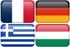 De Europese Knopen van de Vlag: F, D, GR., HUN Stock Fotografie