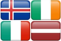 De Europese Knopen van de Vlag: IJS, IRE, I, LAT Stock Fotografie