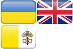 De Europese Knopen van de Vlag: UKR, HET UK, DE BTW Stock Afbeeldingen