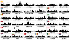 De Europese landen van de stadshorizon Stock Foto's