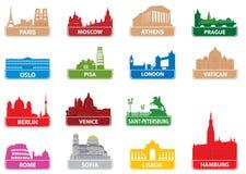 De Europese stad van symbolen stock foto's