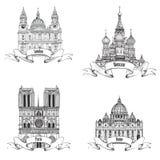 De Europese stedensymbolen schetsen inzameling: Parijs, Londen, Rome, Moskou Stock Foto