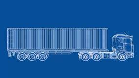 De Europese stijl van de vrachtwagenblauwdruk 3d video van de illustratiedraaischijf vector illustratie