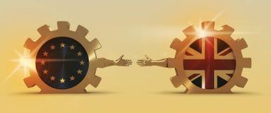 De Europese Unie van Groot-Brittannië en verhoudingen Brexitmetafoor Stock Afbeeldingen