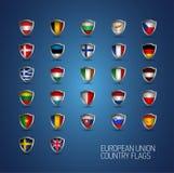 De Europese Unie verklaart volledige vlaggen De vectorschilden van het land Royalty-vrije Stock Foto's