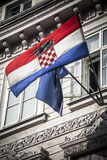 De Europese vlaggen van Kroatië en Royalty-vrije Stock Foto