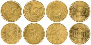 De Europese voorzijde en de rug van 20 die Centmuntstukken op witte backgr wordt geïsoleerd Stock Afbeelding